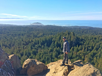 The view from the top of the rock provides gorgeous views of the surrounding redwood forest as well as the Pacific Ocean