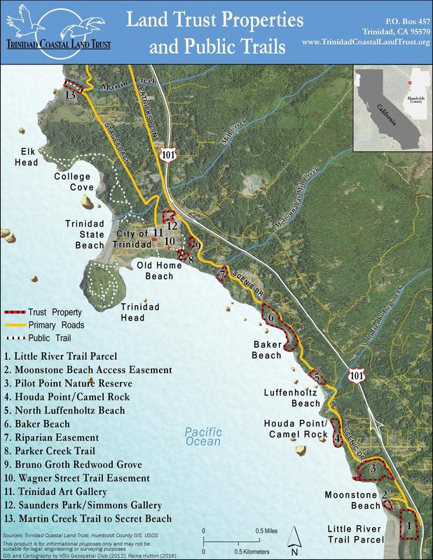 Surf Beach California Map.Property Holdings And Map Trinidad Coastal Land Trust